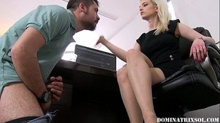 mistress-sol--Spitting-on-and-Slapping-an-Employee`s-Stupid-Face