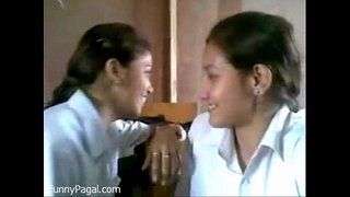 Two-Indian-School-Girl-Kissing-In-Class