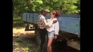 Black-worker-hitting-on-the-daughter's-farmer
