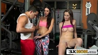 Cougar-Stepmom-Seduces-Stepdaughter's-BF-in-the-Gym---Bella-Skye,-India-Summer