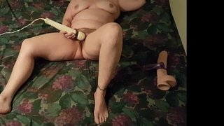 Part1-My-wife-using-a-huge-dildo-and-her-vibrator-for-a-good-orgasm