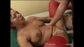 Divorcee-gets-nailed-in-red-nylon