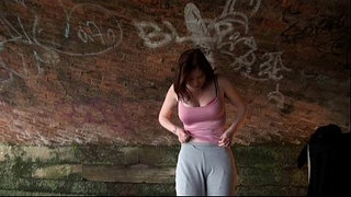 Stripping-uk-amateur-Holly-Kiss-flashing-in-public-under-a-railway-bridge