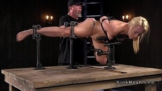 Sexy-natural-blonde-anal-fingered-in-device-bondage