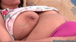 Granny-with-milk-leaking-nipple-fucks-a-dildo