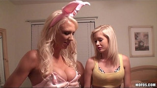Four-HOT-blonde-party-girls-get-crazy-at-a-Halloween-orgy