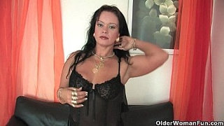Chubby-soccer-mom-in-stockings-works-her-hard-clit