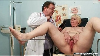 Chubby-blond-mom-hairy-pussy-doctor-exam
