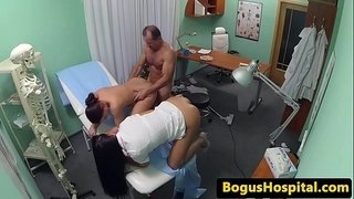 Nurse-tugs-doctor-with-patient-in-threesome