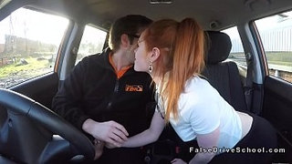 Pale-small-tits-redhead-bangs-driving-instructor