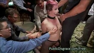 Two-slave-lesbians-in-orgy-humiliation
